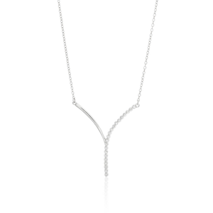 Sterling Silver Diamond Pendant With 42cm Chain