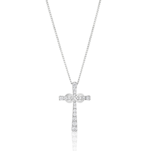 Sterling Silver Cubic Zirconia Crucifix & Infinity Pendant
