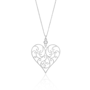 Sterling Silver Rhodium Plated Cubic Zirconia Heart Filigree Pendant