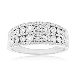 Sterling Silver Ring with 1/5 Carat Diamonds