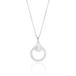 Sterling Silver Rhodium Plated White Cubic Zirconia Round Pendant with 40 + 5cm Chain