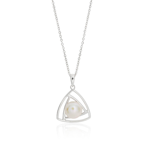 Sterling Silver Pearl Truangular Pendant With 40 + 5cm Chain