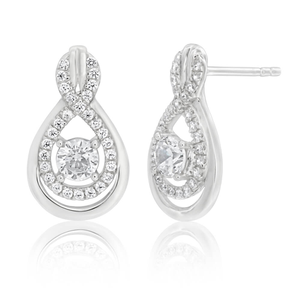 Sterling Silver Rhodium Plated Cubic Zirconia Figure 8 Drop Earrings