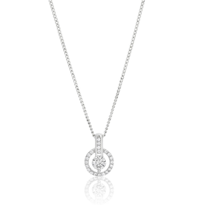 Sterling Silver Rhodium Plated Cubic Zirconia Halo Pendant With 40 + 5cm Chain