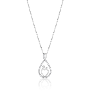 Sterling Silver Rhodium Plated Cubic Zirconia Figure 8 Pendant