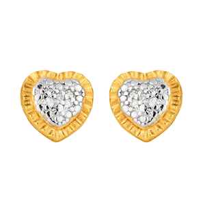 Sterling Silver and Gold Plated Diamond Heart Stud Earrings