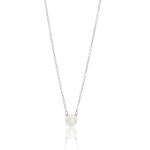 Sterling Silver Pearl Pendant With 40 + 5cm Chain Rhodium Plate