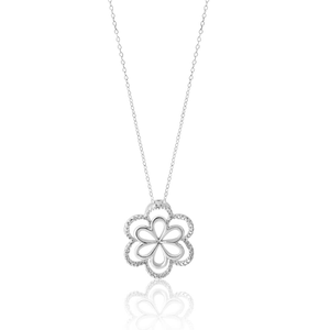 Sterling Silver Diamond Flower Pendant With 45cm Chain