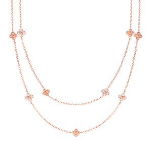 Georgini Bianca 75cm Zirconia Rose Gold Plated Sterling Silver Necklace