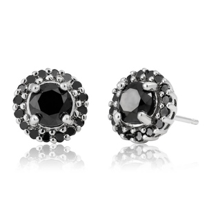 Black Diamond Sterling Silver Diamond Earrings