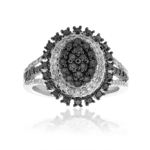 Black Diamond Sterling Silver Diamond Ring (TW=1.5CT)