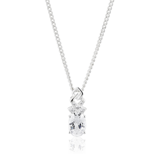 Sterling Silver Cubic Zirconia Ribbon & Oval Pendant
