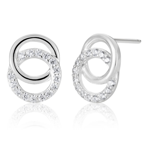Sterling Silver Cubic Zirconia Double Ring Stud Earrings