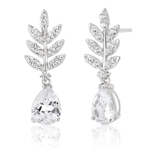 Sterling Silver Rhodium Plated Cubic Zirconia Leaf Branch Drop Earrings
