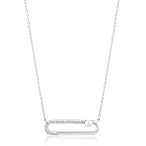 Sterling Silver Rhodium Plated Cubic Zirconia + Pearl Geo Pendant With 40 + 5cm Chain
