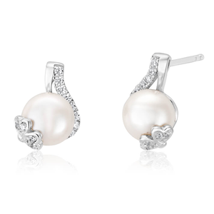 Sterling Silver Rhodium Plated Cubic Zirconia + Pearl Wrap Stud Earrings