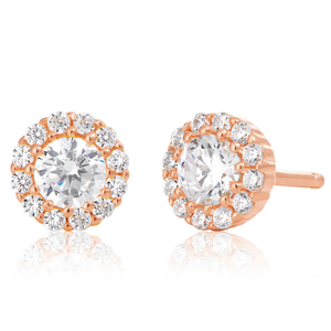 Sterling Silver Rose Gold Plated Cubic Zirconia Brilliant Cut Halo Stud Earrings