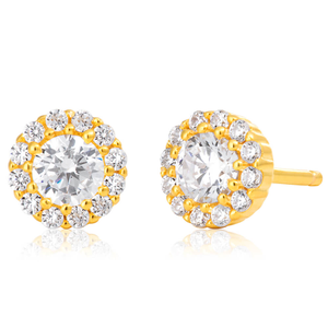Gold Plated Sterling Silver Cubic Zirconia Brilliant Cut Halo Fancy Stud Earrings