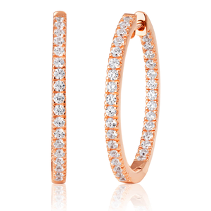 Rose Coloured Gold Plated Sterling Silver Cubic Zirconia Hoop Earrings