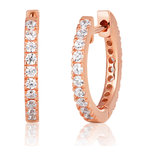 Rose Gold Plated Sterling Silver Cubic Zirconia 16mm Hoop Earrings
