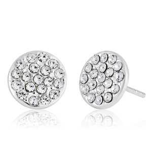 Sterling Silver Crystal Flat Round Stud Earrings