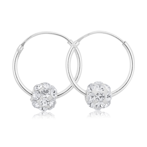 Sterling Silver Crystal Slider Hoop Earrings
