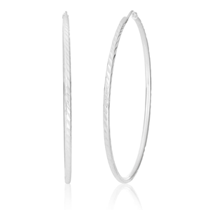 Sterling Silver 50mm Diamond Cut Hoop Earrings