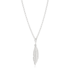 Sterling Silver Fancy Feather Pendant With 45cm Chain