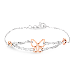 Gold Plated Sterling Silver Fancy Butterfly 19cm Bracelet