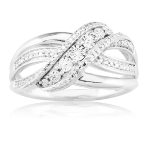 Sterling Silver Diamond Ring with 5 Brilliant Cut Diamonds