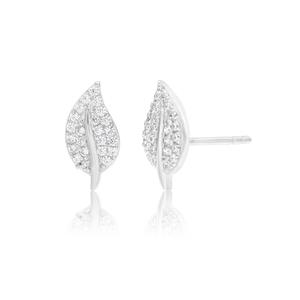 Sterling Silver Rhodium Plated Cubic Zirconia Lef Stud Earrings