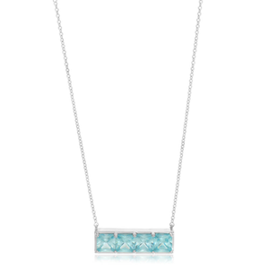 Sterling Silver Rhodium Plated Cubic Zirconia Necklace