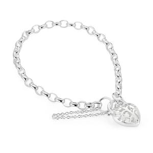 Sterling Silver Belcher Tree Of Life Heart Puff Padlock 19cm Bracelet