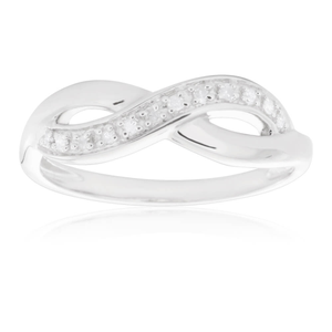 Sterling Silver Infinity Diamond Ring