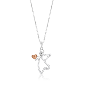 Sterling Silver Rhodium Plated Cubic Zirconia Heart Angel Pendant With 40 + 5cm Chain