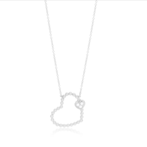 Sterling Silver Rhodium Plated Cubic Zirconia Double Heart Pendant With 40 + 5cm Chain