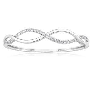 Sterling Silver Rhodium Plated Cubic Zirconia Open Twist Bangle