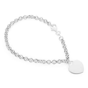 3247dfa07 Sterling Silver Belcher Bracelet 19cm with Small Heart Charm