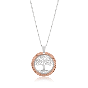 Sterling Silver Rhodium and Rose Gold Plated Tree of Life Pendant