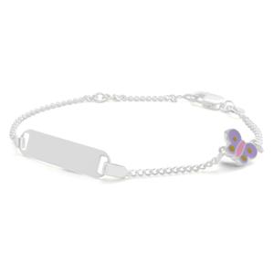 Sterling Silver Purple Butterfly Charm ID Bracelet