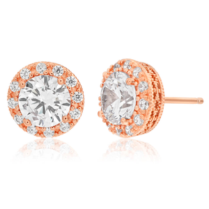 Sterling Silver Rose Gold Plated Cubic Zirconia Stud Earrings
