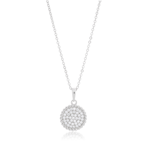 Sterling Silver Zirconia Bead Halo Pendant with 40 + 5cm Chain