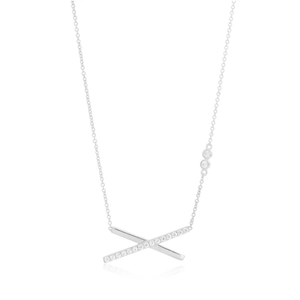 Sterling Silver Rhodium Plated Cubic Zirconia Cross Bar Pendant Chain