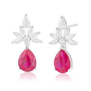 Sterling Silver Rhodium Plated Created Ruby and Cubic Zirconia Drop Earrings
