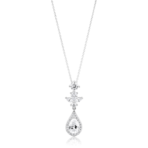 Sterling Silver Cubic Zirconia Fancy Marquise Pendant with 40+5cm Chain