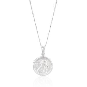 Sterling Silver Angel Cherub Round Pendant