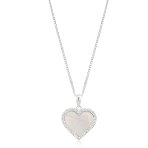 Sterling Silver Mother of Pearl and Zirconia Heart Pendant