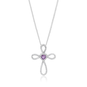 Sterling Silver Amethyst and White Topaz Fancy Cross Pendant