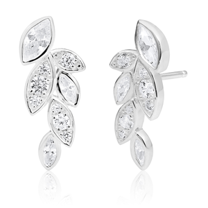 Sterling Silver Cubic Zirconia Leaf Curve Stud Earrings