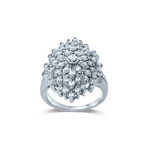 Silver 1 Carat Diamond Ring with 53 Brilliant Diamonds